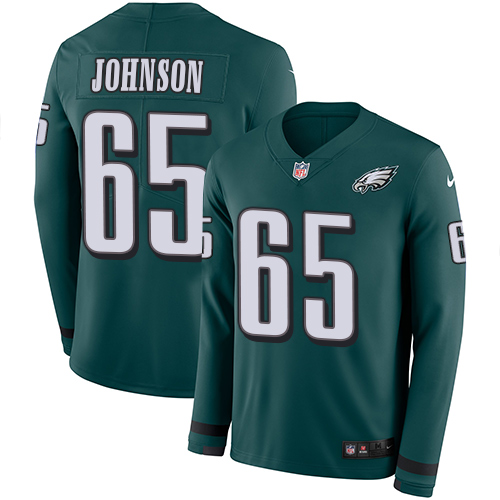 Nike Eagles #65 Lane Johnson Midnight Green Team Color Men's Stitched NFL Limited Therma Long Sleeve Jersey