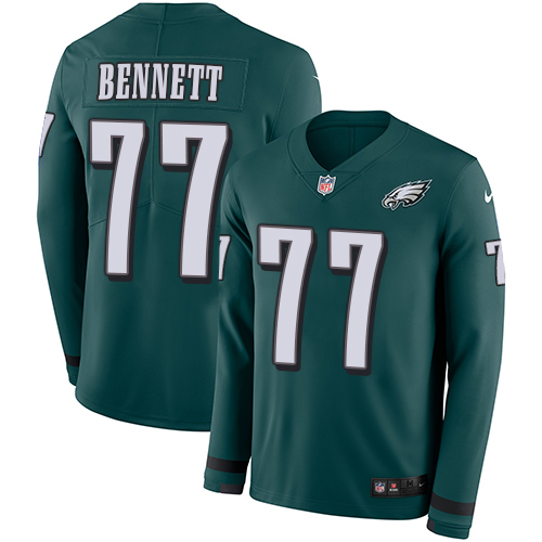 Nike Eagles #77 Michael Bennett Midnight Green Team Color Men's Stitched NFL Limited Therma Long Sleeve Jersey
