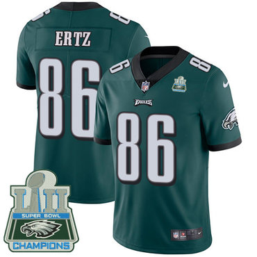 Nike Eagles #86 Zach Ertz Midnight Green Team Color Super Bowl LII Champions Youth Stitched NFL Vapor Untouchable Limited Jersey