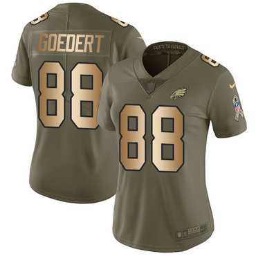 Nike Eagles #88 Dallas Goedert Olive Gold Women's Stitched NFL Limited 2017 Salute to Service Jersey