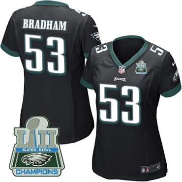 Nike Eagles 53 Nigel Bradham Black Women 2018 Super Bowl Champions Game Jersey