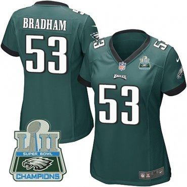 Nike Eagles 53 Nigel Bradham Green Women 2018 Super Bowl Champions Game Jersey