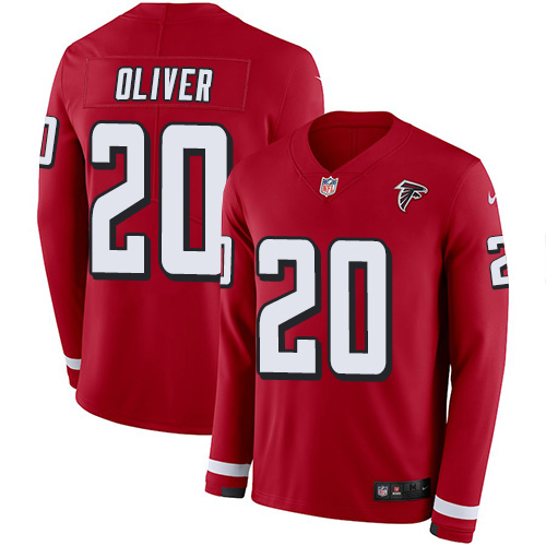 Nike Falcons #20 Isaiah Oliver Red Team Color Men's Stitched NFL Limited Therma Long Sleeve Jersey