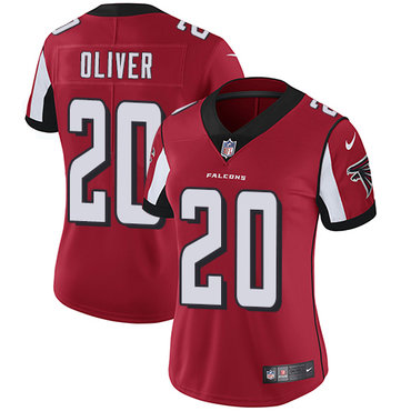 Nike Falcons #20 Isaiah Oliver Red Team Color Women's Stitched NFL Vapor Untouchable Limited Jersey