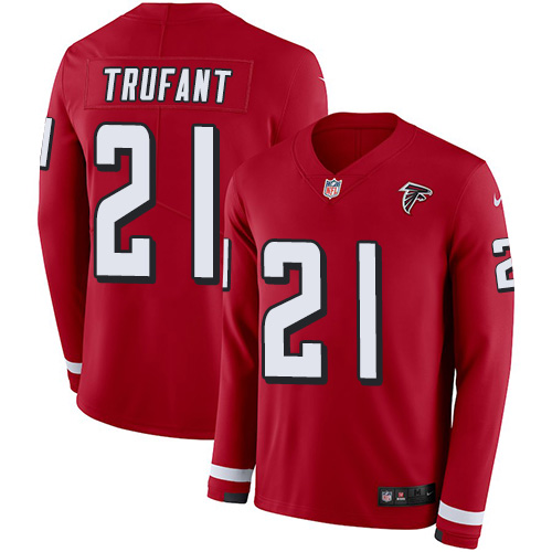 Nike Falcons #21 Desmond Trufant Red Team Color Men's Stitched NFL Limited Therma Long Sleeve Jersey
