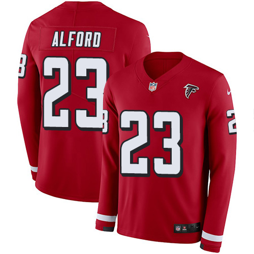 Nike Falcons #23 Robert Alford Red Team Color Men's Stitched NFL Limited Therma Long Sleeve Jersey