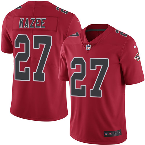 Nike Falcons #27 Damontae Kazee Red Men's Stitched NFL Limited Rush Jersey