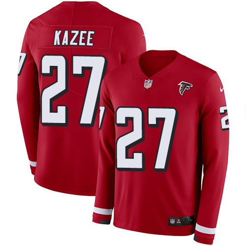 Nike Falcons #27 Damontae Kazee Red Team Color Men's Stitched NFL Limited Therma Long Sleeve Jersey