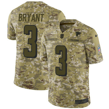 Nike Falcons #3 Matt Bryant Camo Youth Stitched NFL Limited 2018 Salute to Service Jersey