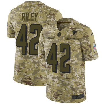 Nike Falcons #42 Duke Riley Camo Youth Stitched NFL Limited 2018 Salute to Service Jersey