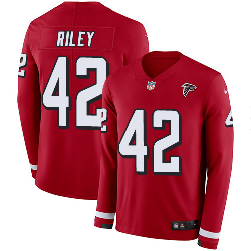 Nike Falcons #42 Duke Riley Red Team Color Men's Stitched NFL Limited Therma Long Sleeve Jersey