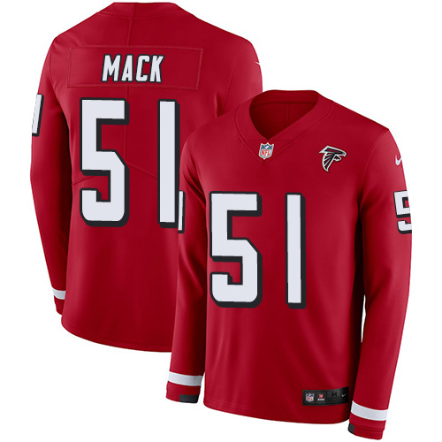 Nike Falcons #51 Alex Mack Red Team Color Men's Stitched NFL Limited Therma Long Sleeve Jersey