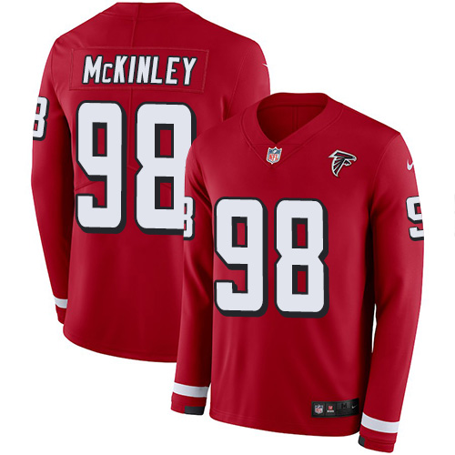 Nike Falcons #98 Takkarist McKinley Red Team Color Men's Stitched NFL Limited Therma Long Sleeve Jersey
