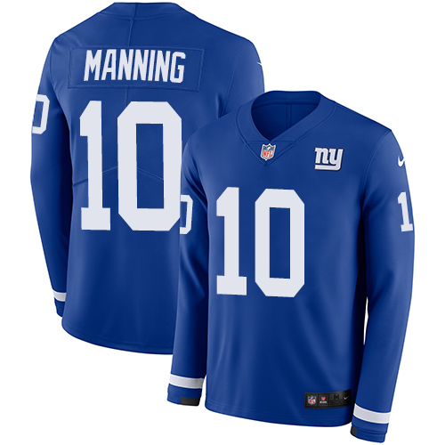 Nike Giants #10 Eli Manning Royal Blue Team Color Men's Stitched NFL Limited Therma Long Sleeve Jersey