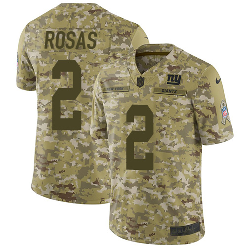 Nike Giants #2 Aldrick Rosas Camo Men's Stitched NFL Limited 2018 Salute To Service Jersey