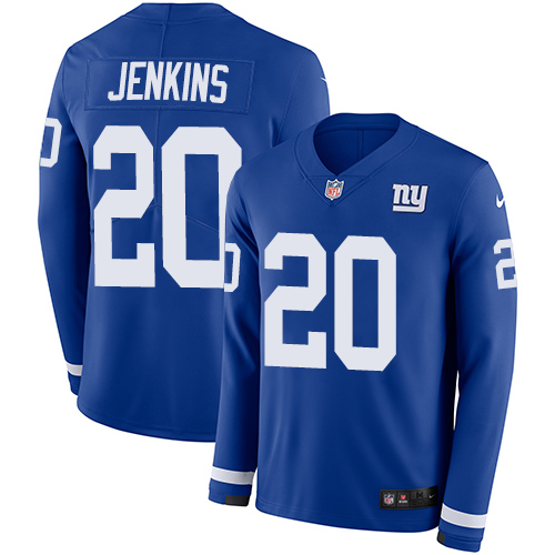 Nike Giants #20 Janoris Jenkins Royal Blue Team Color Men's Stitched NFL Limited Therma Long Sleeve Jersey