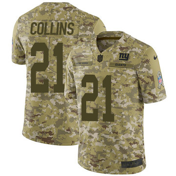 Nike Giants #21 Landon Collins Camo Youth Stitched NFL Limited 2018 Salute to Service Jersey