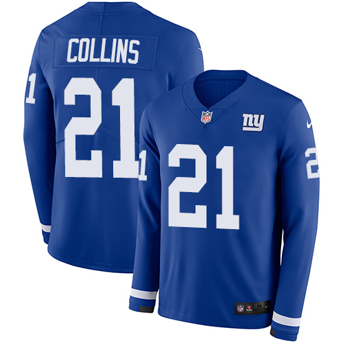 Nike Giants #21 Landon Collins Royal Blue Team Color Men's Stitched NFL Limited Therma Long Sleeve Jersey