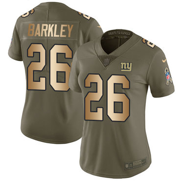 Nike Giants #26 Saquon Barkley Olive Gold Women's Stitched NFL Limited 2017 Salute to Service Jersey
