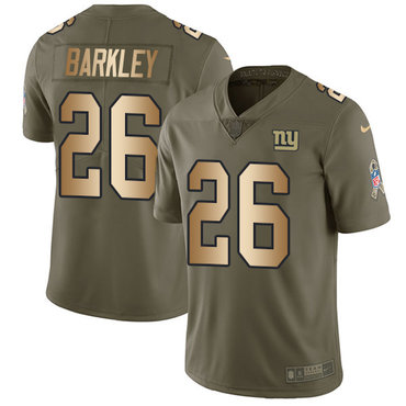Nike Giants #26 Saquon Barkley Olive Gold Youth Stitched NFL Limited 2017 Salute to Service Jersey