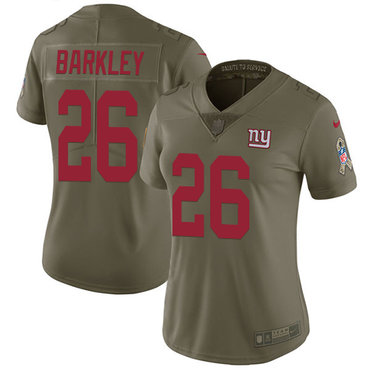 Nike Giants #26 Saquon Barkley Olive Women's Stitched NFL Limited 2017 Salute to Service Jersey