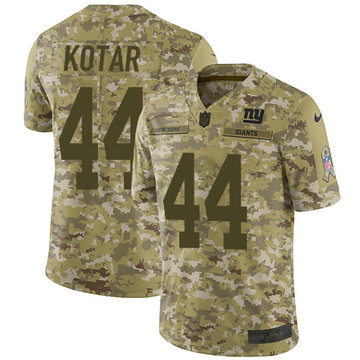 Nike Giants #44 Doug Kotar Camo Youth Stitched NFL Limited 2018 Salute to Service Jersey