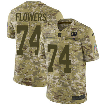 Nike Giants #74 Ereck Flowers Camo Youth Stitched NFL Limited 2018 Salute to Service Jersey