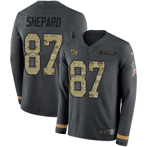 Nike Giants #87 Sterling Shepard Anthracite Salute to Service Men's Stitched NFL Limited Therma Long Sleeve Jersey