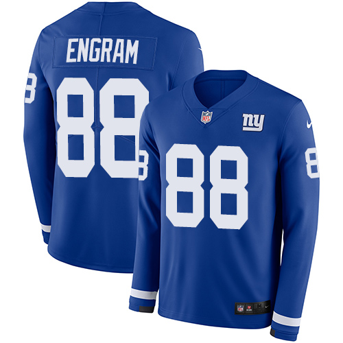 Nike Giants #88 Evan Engram Royal Blue Team Color Men's Stitched NFL Limited Therma Long Sleeve Jersey