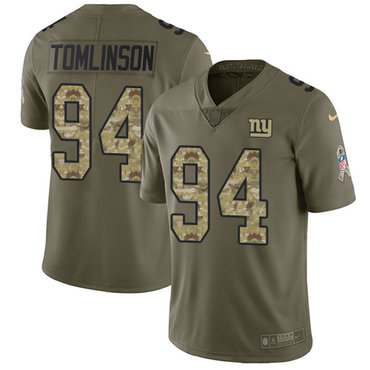 Nike Giants #94 Dalvin Tomlinson Olive Camo Men's Stitched NFL Limited 2017 Salute To Service Jersey