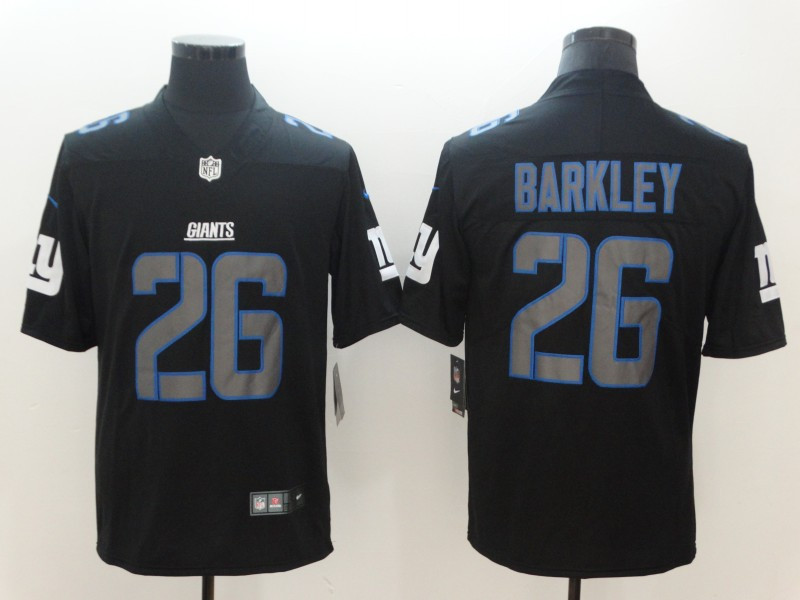Nike Giants 26 Saquon Barkley Black Vapor Impact Limited Jersey