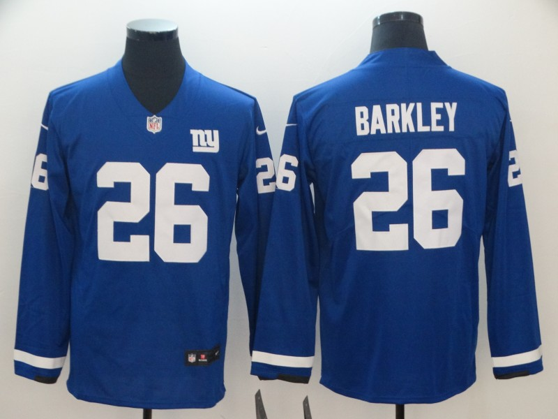 Nike Giants 26 Saquon Barkley Royal Therma Long Sleeve Jersey