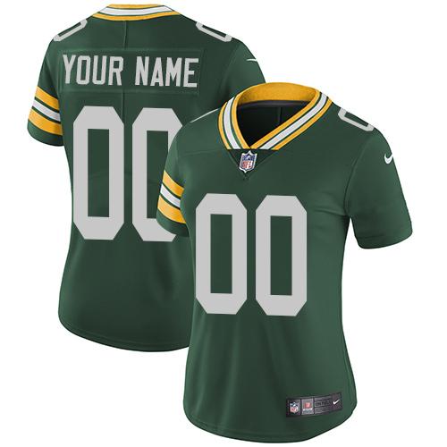 Nike Green Bay Packers Elite Green Home Women's Jersey NFL  Vapor Untouchable Customized jerseys