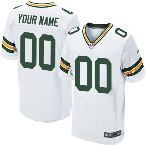 Nike Green Bay Packers Elite White Road Men's Jersey NFL Customized jerseys