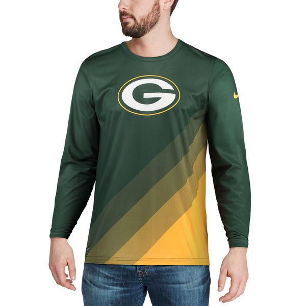 Nike Green Bay Packers Green Sideline Legend Prism Performance Long Sleeve T-Shirt.