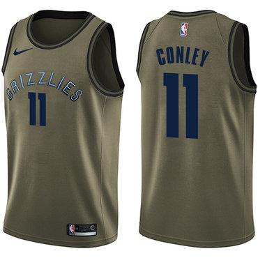 Nike Grizzlies #11 Mike Conley Green Salute to Service NBA Swingman Jersey