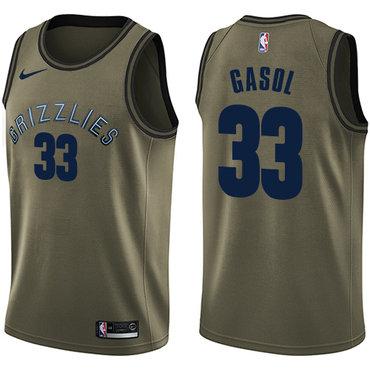 Nike Grizzlies #33 Marc Gasol Green Salute to Service NBA Swingman Jersey