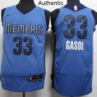 Nike Grizzlies #33 Marc Gasol Light Blue NBA Authentic Statement Edition Jersey
