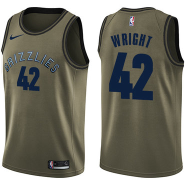 Nike Grizzlies #42 Lorenzen Wright Green Salute to Service NBA Swingman Jersey