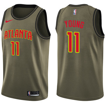 Nike Hawks #11 Trae Young Green NBA Swingman Salute to Service Jersey