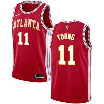 Nike Hawks #11 Trae Young Red NBA Swingman Statement Edition Jersey