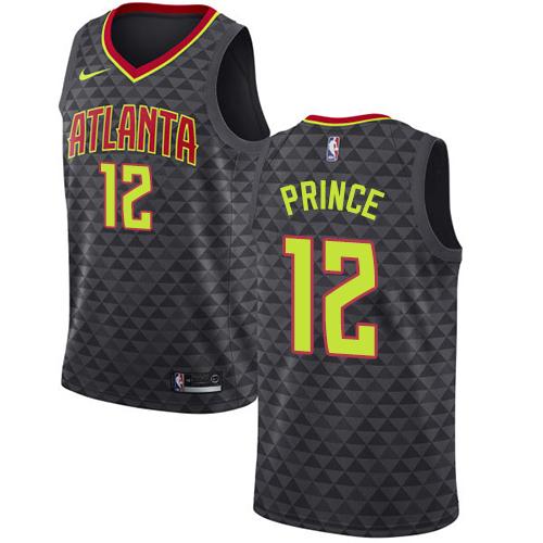 Nike Hawks #12 Taurean Prince Black NBA Swingman Icon Edition Jersey