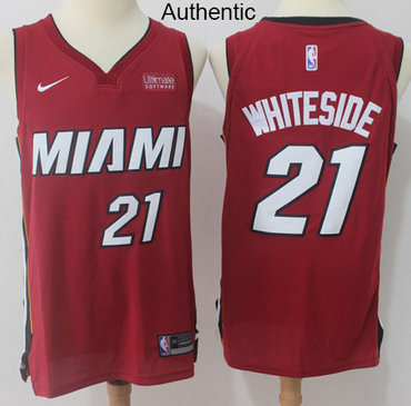Nike Heat #21 Hassan Whiteside Red NBA Authentic Statement Edition Jersey