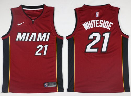 Nike Heat #21 Hassan Whiteside Red Statement Edition NBA Swingman Jersey