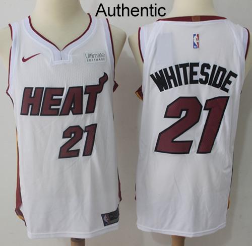 Nike Heat #21 Hassan Whiteside White NBA Authentic Jersey