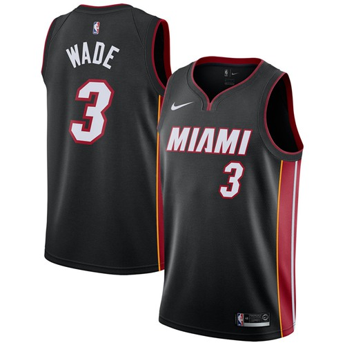 Nike Heat #3 Dwyane Wade Black NBA Swingman Icon Edition Jersey