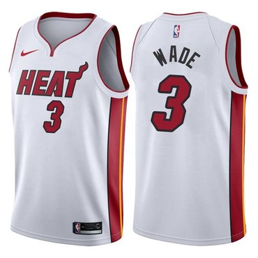 Nike Heat #3 Dwyane Wade White NBA Swingman Association Edition Jersey