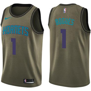 Nike Hornets #1 Muggsy Bogues Green Salute to Service NBA Swingman Jersey