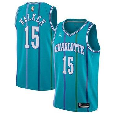 Nike Hornets #15 Kemba Walker Aqua NBA Jordan Swingman Hardwood Classics Jersey