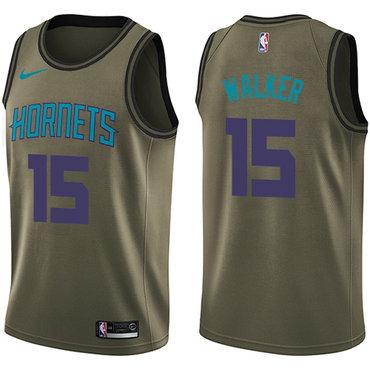 Nike Hornets #15 Kemba Walker Green Salute to Service NBA Swingman Jersey